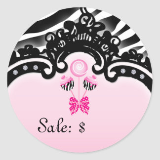 Cake Pops Sticker Price Tag Sale Zebra Pink Black