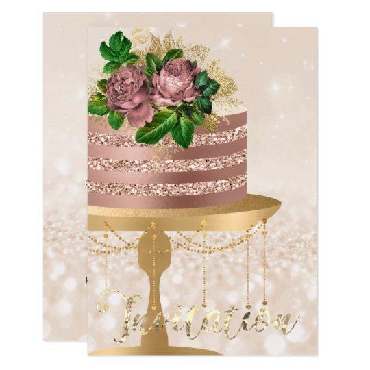 Cake Rose Gold Crystals Creamy Confetti Glitter Card