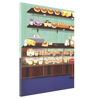 Cake Shop Counter Stretched Canvas Prints