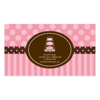 Cake Shop Pink Polka Dot Stripes Business Cards