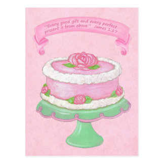 Cake Stand~Good Gift Scripture Postcard