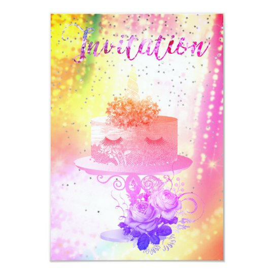 Cake Unicorn Bright Pink Vivid Starry Night Card