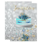 Cake Unicorn Party Glitter Lashes Blue Silver Gray Card