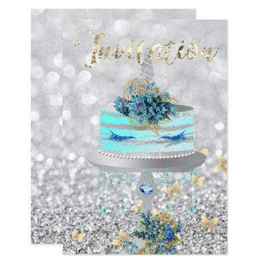 Cake Unicorn Party Glitter Lashes Blue Silver Gray