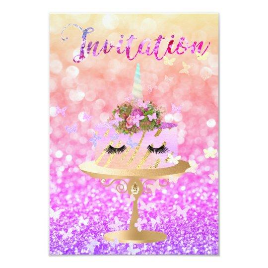 Cake Unicorn Party Glitter Lashes Pink Rainbow Card