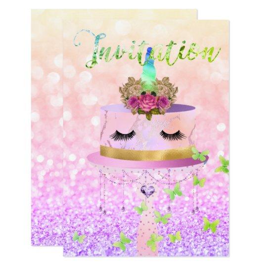 Cake Unicorn Rose Gold Glitter Lashes Pastel Roses Card