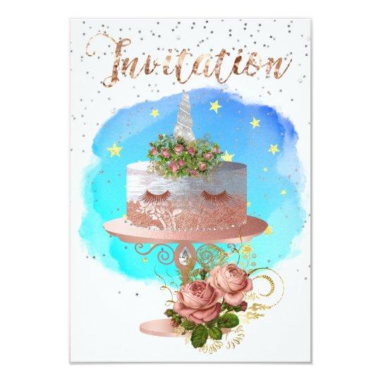 Cake Unicorn Rose Gold Watercolor Star Aqua Ocean