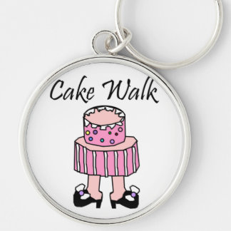 Cake Walk Silver-Colored Round Key Ring