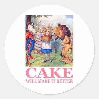 CAKE WILL MAKE IT BETTER ROUND STICKER