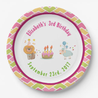 Cake with Party Lion and Balloon Birthday Paper Plate