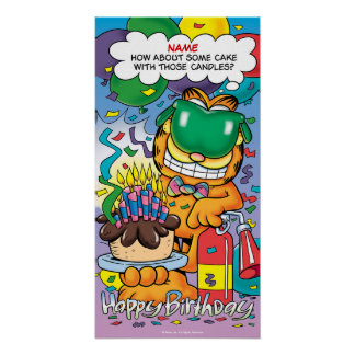 """Cake With Those Candles"" Garfield Birthday Poster"