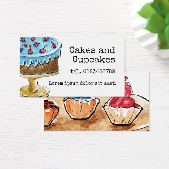 Cakes and cupkaces, watercolor design business card