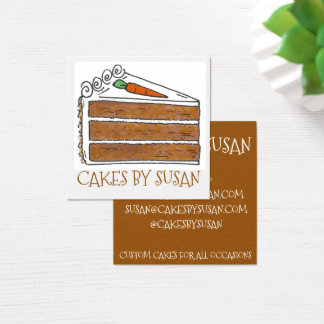 Cakes By Carrot Cake Decorator Slice Bakery Pastry Square Business Card