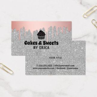Cakes & Sweets Cupcake Home Bakery Silver Glitter Business Card
