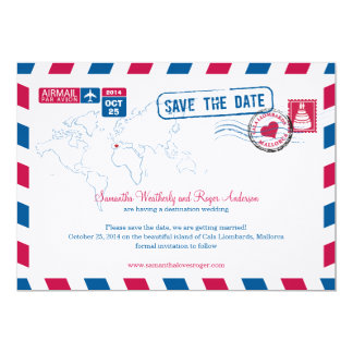 Cala Llombards Mallorca Air Mail Save the Date Card