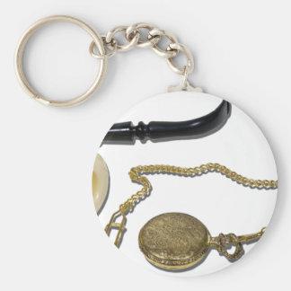 CalabashPipePocketWatch102410 Basic Round Button Key Ring
