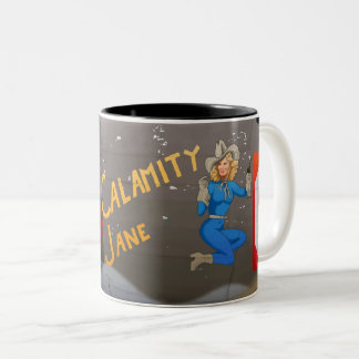 Calamity Jane B-24 Nose Art (Vintage Fuselage) Two-Tone Coffee Mug