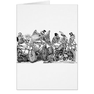 Calavera Bicyclists circa late 1800 s Mexico Greeting Card