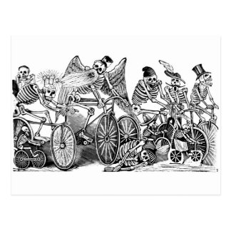 Calavera Bicyclists circa late 1800 s Mexico Post Card