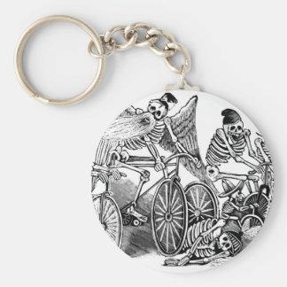 Calavera Bicyclists circa late 1800's Mexico Keychain