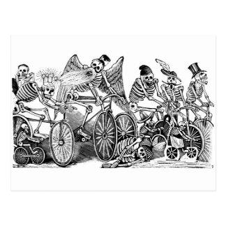 Calavera Bicyclists circa late 1800's Mexico Postcard