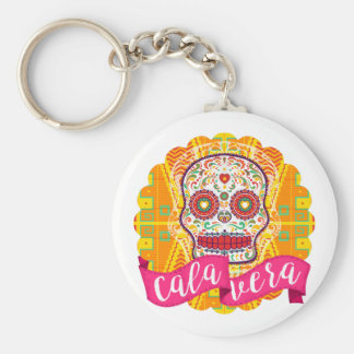 Calavera. Day of the Dead Mexican Sugar Skull Basic Round Button Key Ring