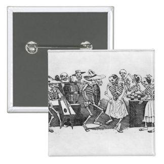 Calavera du jarabe d'outretombe' 15 cm square badge