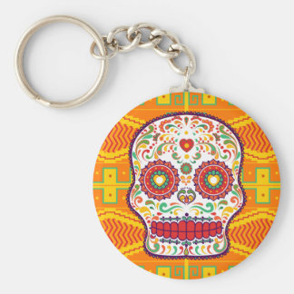 Calavera II. Day of the Dead Mexican Sugar Skull Basic Round Button Key Ring