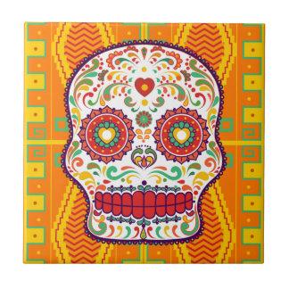 Calavera II. Day of the Dead Mexican Sugar Skull Small Square Tile