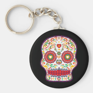 Calavera III. Day of the Dead Mexican Sugar Skull Basic Round Button Key Ring