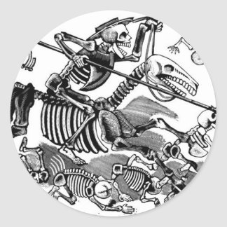 """Calavera of Don Quixote"" circa early 1900's Round Sticker"