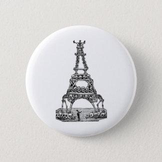 Calavera of the Eiffel Tower c. late 1800's 6 Cm Round Badge