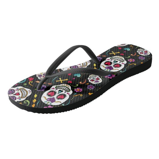 Calaveras Celebration - black Flip Flops