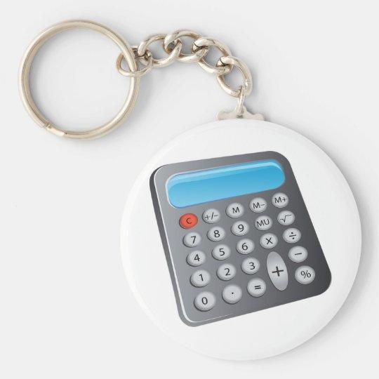 Calculator Basic Round Button Key Ring
