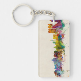 Calcutta (Kolkata) India Skyline Double-Sided Rectangular Acrylic Key Ring