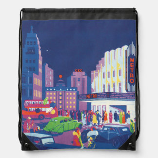 Calcutta Vintage Travel Poster Drawstring Bag