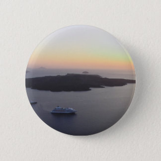 Caldera (center of volcano) in Santorini, Greece 6 Cm Round Badge