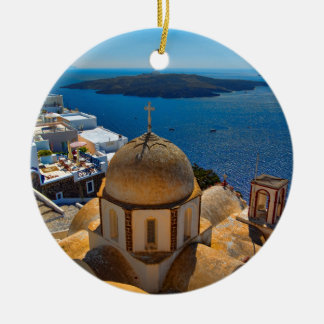 Caldera Church in Santorini Greece Christmas Ornament