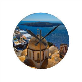 Caldera Church in Santorini Greece Clocks