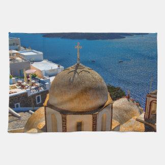 Caldera Church in Santorini Greece Kitchen Towel