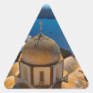 Caldera Church in Santorini Greece Triangle Sticker