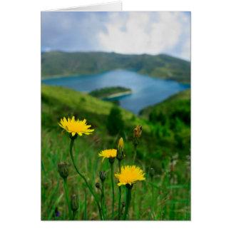 Caldera lake in Azores islands Greeting Card