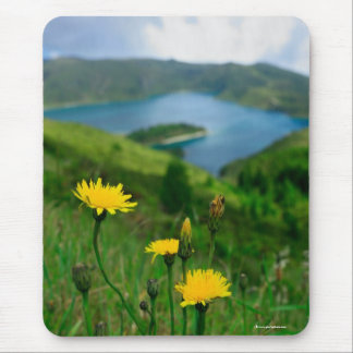 Caldera lake in Azores islands Mouse Pad