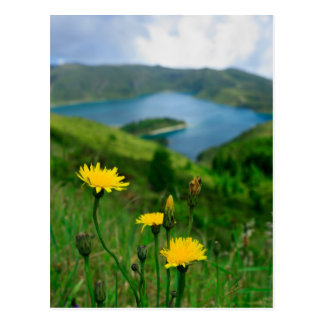 Caldera lake in Azores islands Postcard