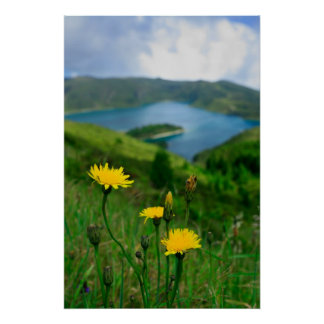 Caldera lake in Azores islands Poster