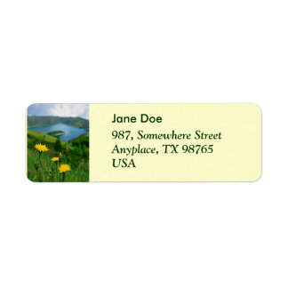 Caldera lake in Azores islands Return Address Label