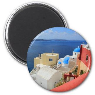 Caldera, Oia, Santorini, Greece 6 Cm Round Magnet
