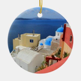 Caldera, Oia, Santorini, Greece Round Ceramic Decoration