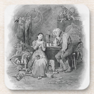 Caleb Plummer and his blind daughter, from 'Charle Beverage Coasters