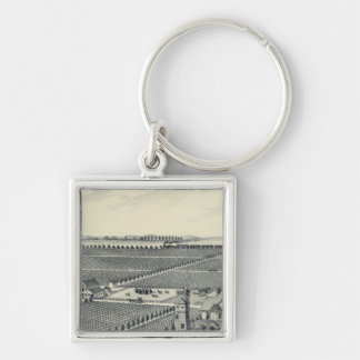 Caledonia Vineyard County, Fresno Silver-Colored Square Key Ring